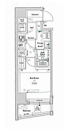 東急池上線 大崎広小路駅 徒歩4分の賃貸マンション 10階1Kの間取り