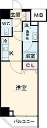 都営三田線 西台駅 徒歩5分の賃貸マンション 3階1Kの間取り