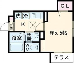 JR中央線 東小金井駅 徒歩3分の賃貸アパート 1階1Kの間取り