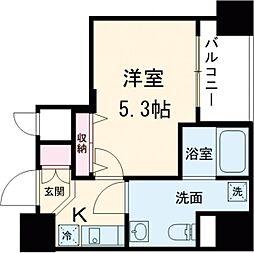都営浅草線 戸越駅 徒歩3分の賃貸マンション 8階1Kの間取り