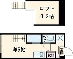 JR京浜東北・根岸線 蒲田駅 徒歩9分の賃貸アパート 2階ワンルームの間取り