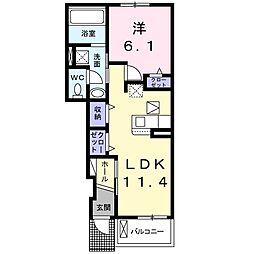 JR東海道本線 新所原駅 徒歩14分の賃貸アパート 1階1LDKの間取り