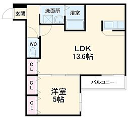 クレール・アゾンIII 1階1LDKの間取り