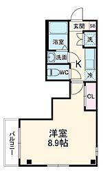 シンシア八番館 2階1Kの間取り