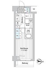 プレール・ドゥーク新宿West 1階1Kの間取り