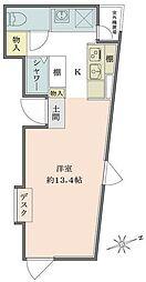 Solana Takanawadai 2階ワンルームの間取り