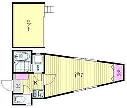 ノアールブランシェ桜木 2階1Kの間取り