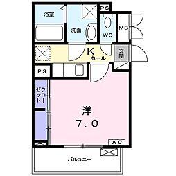 小田急小田原線 愛甲石田駅 バス6分 仲田下車 徒歩5分の賃貸アパート 2階1Kの間取り