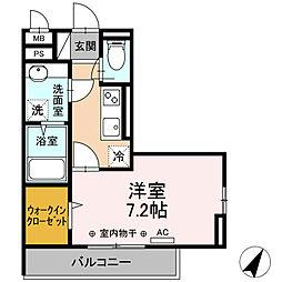 小田急小田原線 相模大野駅 徒歩11分の賃貸アパート 2階1Kの間取り