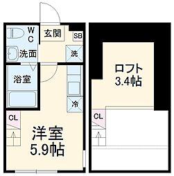 ハーミットクラブハウス日吉V A棟 1階ワンルームの間取り