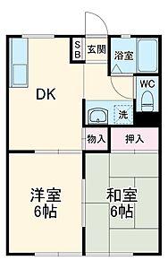 間取り,2DK,面積40.92m2,賃料4.3万円,JR常磐線 水戸駅 3.3km,,茨城県水戸市元吉田町2103-9