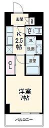 ラグゼナ武蔵新城 3階1Kの間取り