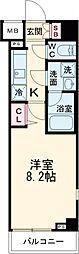CREVISTA高田馬場 2階1Kの間取り