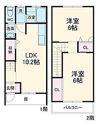 東武伊勢崎線 新田駅 徒歩25分の賃貸テラスハウス 1階2LDKの間取り