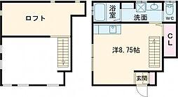 東急世田谷線 若林駅 徒歩9分の賃貸アパート 1階ワンルームの間取り