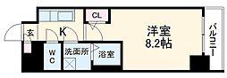 名古屋市営東山線 新栄町駅 徒歩6分の賃貸マンション 6階1Kの間取り