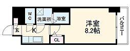 名古屋市営東山線 新栄町駅 徒歩6分の賃貸マンション 7階1Kの間取り
