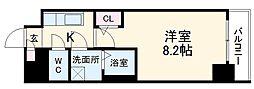 名古屋市営東山線 新栄町駅 徒歩6分の賃貸マンション 8階1Kの間取り