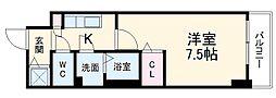 名古屋市営東山線 新栄町駅 徒歩6分の賃貸マンション 12階1Kの間取り