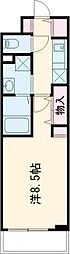 JR中央線 立川駅 徒歩7分の賃貸マンション 2階1Kの間取り