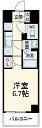 N-stage Fujisawa 2階1Kの間取り
