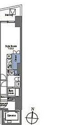 プライムブリス笹塚 6階ワンルームの間取り