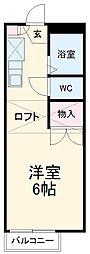 名鉄常滑線 新日鉄前駅 徒歩15分の賃貸アパート 1階ワンルームの間取り