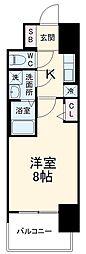 近鉄名古屋線 近鉄四日市駅 徒歩10分の賃貸マンション 11階1Kの間取り