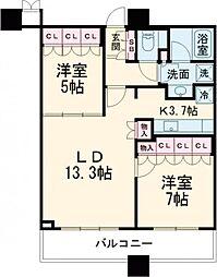 JR山手線 大崎駅 徒歩6分の賃貸マンション 20階2LDKの間取り