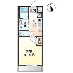 JR常磐線 水戸駅 4.6kmの賃貸アパート 2階1Kの間取り