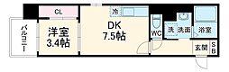 Etincell 4階1DKの間取り