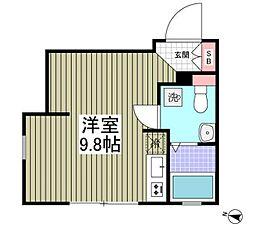 JR京浜東北・根岸線 赤羽駅 徒歩17分の賃貸マンション 4階ワンルームの間取り