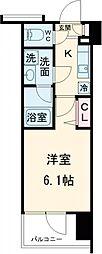 ガーラ・シティ品川西大井 5階1Kの間取り