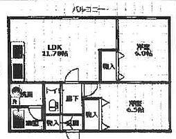 SKビル六番館 8階2LDKの間取り