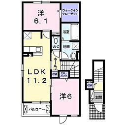 JR常磐線 水戸駅 バス43分 石塚一本松下車 徒歩5分の賃貸アパート 2階2LDKの間取り