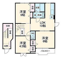 JR成田線 成田駅 バス25分 宮下下車 徒歩8分の賃貸アパート 2階3LDKの間取り
