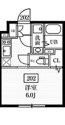 京急本線 雑色駅 徒歩10分の賃貸マンション 2階1Kの間取り