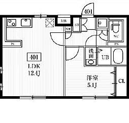 エルファーロ多摩川 4階1LDKの間取り