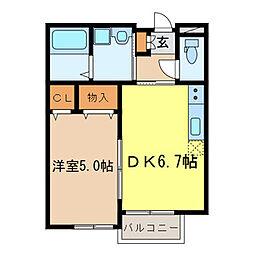 STELLA 2階1DKの間取り