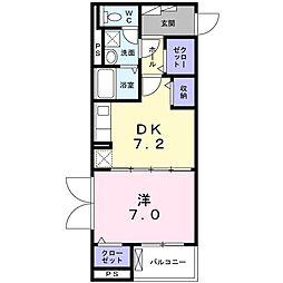 エミナール 4階1DKの間取り