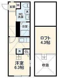 スピカ武蔵中原 2階ワンルームの間取り
