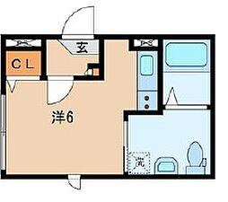 JR山手線 日暮里駅 徒歩13分の賃貸マンション 1階ワンルームの間取り