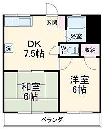 第2むさしマンション 4階2DKの間取り