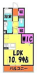 JR京浜東北・根岸線 さいたま新都心駅 徒歩6分の賃貸アパート 2階ワンルームの間取り