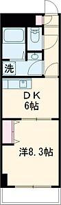 間取り,1DK,面積36.83m2,賃料11.1万円,JR中央線 三鷹駅 徒歩4分,,東京都武蔵野市中町2丁目