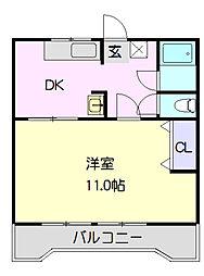 コーポ矢崎 2階2DKの間取り