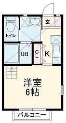 JR常磐線 新松戸駅 徒歩12分の賃貸アパート 2階1Kの間取り