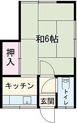 JR南武線 立川駅 徒歩18分の賃貸アパート 2階1Kの間取り