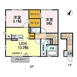 JR青梅線 拝島駅 徒歩16分の賃貸アパート 2階2LDKの間取り