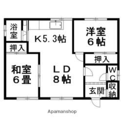 JR石北本線 柏陽駅 バス15分 東8号線下車 徒歩5分の賃貸アパート 2階2LDKの間取り